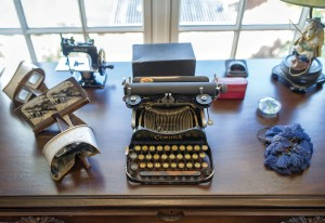Some vintage items once owned by Mary Hart's father decorate a small table on the first floor.